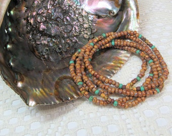 Seed Bead Stretch Bracelet, Wrap Bracelet, Layering Bracelet, Boho Bracelet, Handmade Bracelet, Picasso Brown with Turquoise