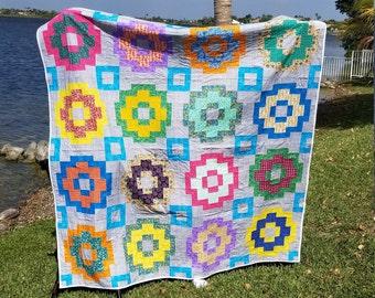 Custom Quilt- handmade quilt- Modern Quilt- Patchwork Quilt- Gender neutral- cotton fabric- Flannel Fabric- Lap Quilt-Straight Line Quilting