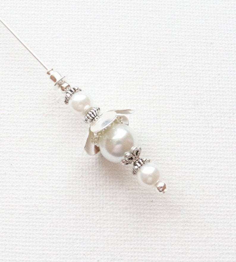 Hijab Pin Scarf Pin Stick Pin 1 x 5  White Flowered Pearl Vintage Antique Style Silver Plated Hat Pin