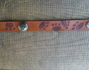 leather bracelet, cat paws