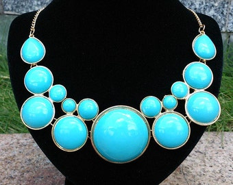 Turquoise Blue Beaded Bubble Necklace, Sea Blue Ball Beadwork Statement Necklace, Circular Beads Bib Necklace