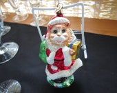 Christopher Radko Vintage Christmas Ornament-Santa Kitty delivering gifts to friends