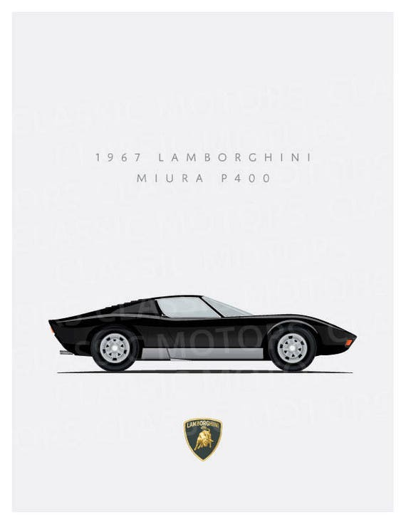 Lamborghini Miura P400 8x10 Inch Unframed Print Multiple Etsy