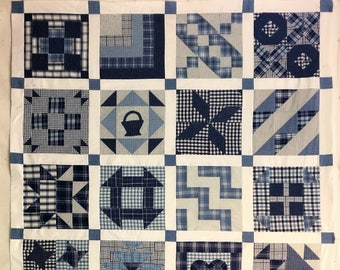 Blue and White Plaids Flannel Quilt