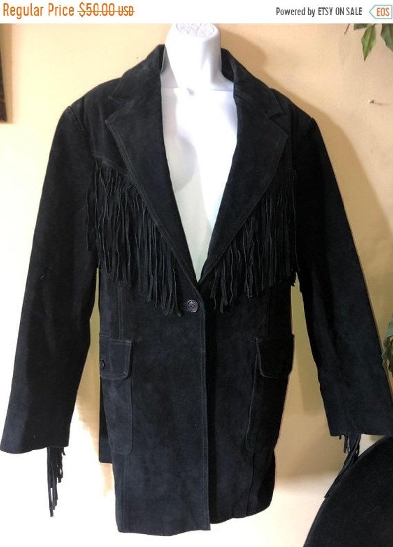 49598c482 FREE SHIP BONUS western Fringe vintage 80S Womens fringe suede leather  jacket coat size xl cowgirl hippie