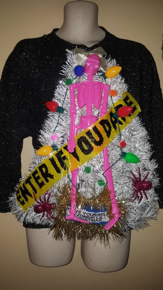 34c92c0d55 LIGHTS Up zombie skelton tinsel tree womens ugly xmas Sweater size 14 16 xl  party holiday tacky christmas