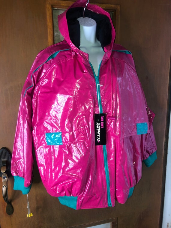 New Pink vintage womens 80s Wippette Shiny Pvc Vin