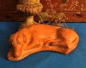 Antique Dog Memorial, Pottery Recumbent Dog, Memorial, Mourning, Antique Folk Art