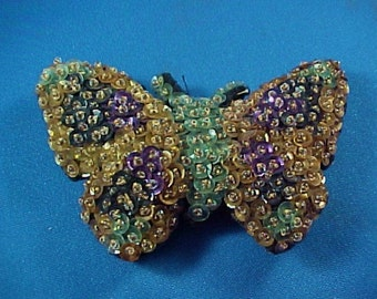 Antique Victorian Beaded and Sequined Butterfly Sewing Pin Cushion