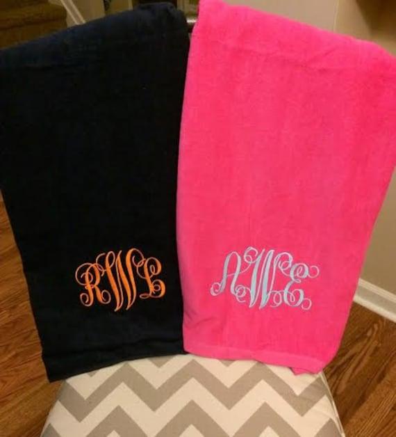 Large Monogrammed Beach Towels.Monogrammed Beach Towel With Large Monogram