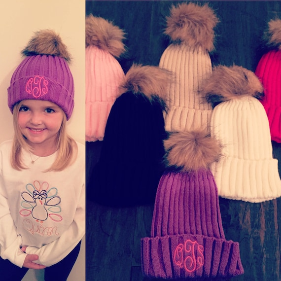 Monogrammed Infant Toddler and Girl Teen Winter Hats  164e0e066ee