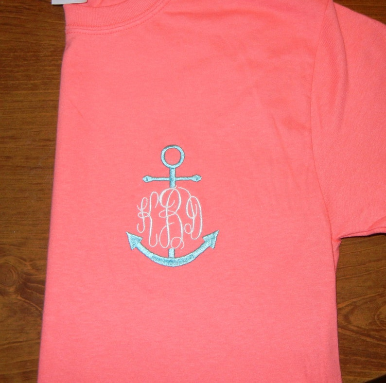 35cf120a8 Monogrammed Anchor T Shirt | Etsy