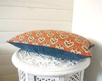 Housse de coussin   50 * 30 cm   Décoration intérieure   motif art déco   salon   orange terre cuite   bleu canard   velours côtelé
