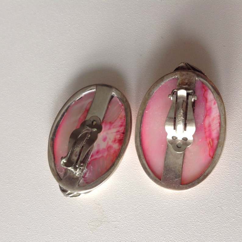 Mother of Pearl Designer Clip On Earrings Oversized Hot Pink Accents Pretty, FRENCH Sterling Clip On Pink and Pearl Earrings