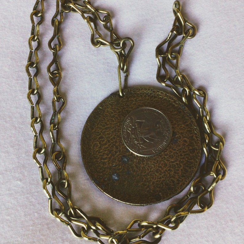 great for layering with faux pearls Medallion vintage 30-inch chain