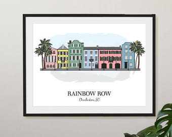 Charleston, SC Rainbow Row Illustration Print