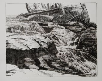 Mountain Stream, Pen & Ink Drawing