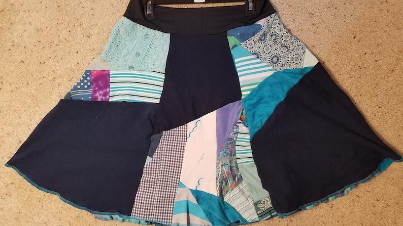 size mediumlarge Women/'s Zero Waste Blue Patchwork themed skirt yoga skirt