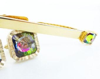 Collector set Swank watermelon crystals. Tie bar,Tie tack, cufflink set. Set in textured gold, brilliant. Free trinket box packaging