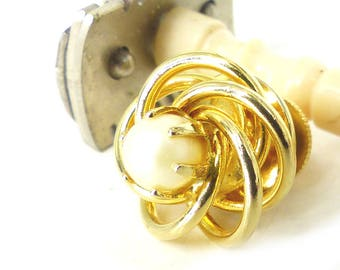 Gorgeous spiral gold nest tie tack set with prong mounted faux pearl center. Wedding Choice. Groom tie tack. Free gift packaging