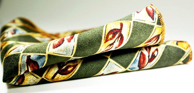 Groom Pocket square Dark olive green background with maroon dusty blue and gold floral cranberry red bud design.