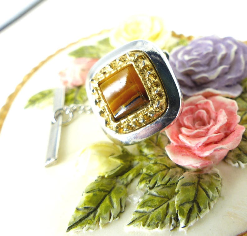 Groom tie tack Rounded square design Elegant and classic silver and tiger/'s eye surrounded by crystals tie tack Very Don Draper