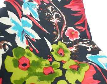 Vintage  Silk Scarf  oblong with Plump rolled edges in a Floral design: Teal, Red, Brown and Greens. Free gift packaging