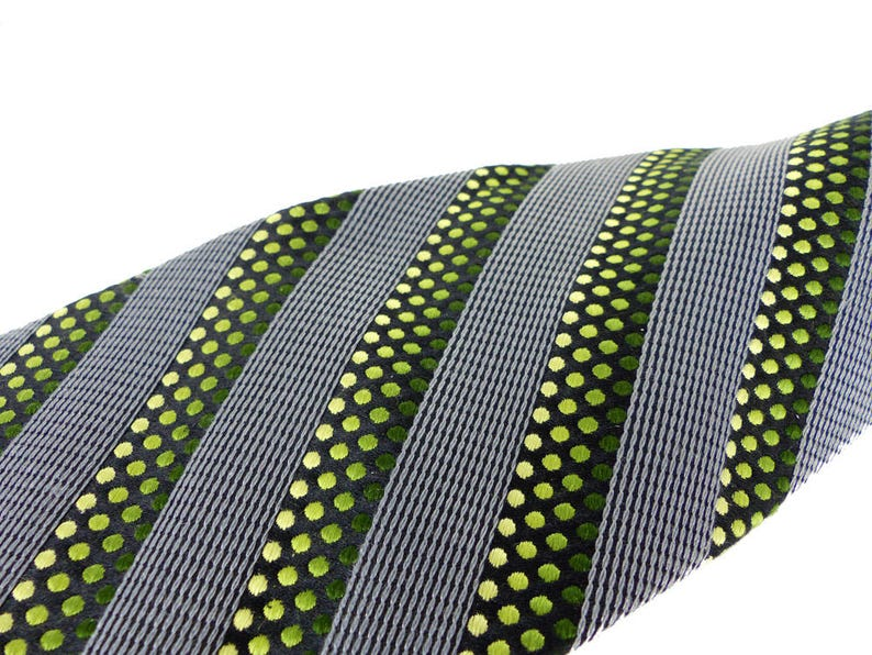 Modern woven silk necktie by Stefano Conti Diagonal stripes in silver gray and black with dot pattern in shades of green
