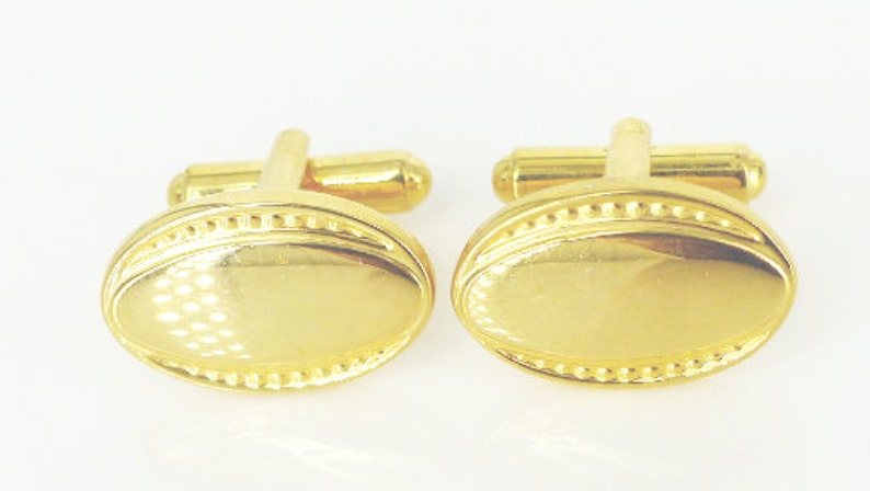 Free gift packaging Gatsby wedding perfection Vintage Edwardian inspired design set of oval cufflinks in a brillant gold finish