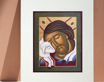 Jesus the Good Shepherd: Giclee Print, Catholic Christian art, 8x10 inches