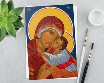 Madonna and Child Icon: Giclee Print, Catholic Christian art, 6x9, 12x18