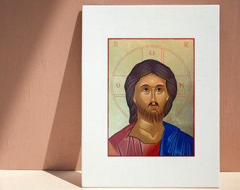 Jesus Icon: Giclee Print, Catholic Christian art, 5x7, 8x10, 11x14