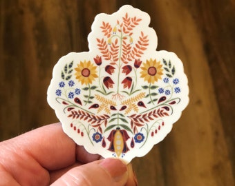 3 inch Folk Art Sacred Heart of Jesus: vinyl sticker