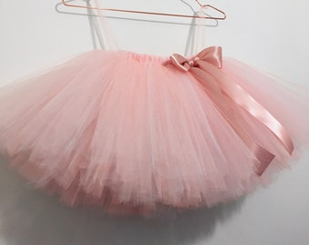 Blush girls tutu skirt, blush tutus, girls tulle tutu, flower girl tutu, wedding tutu, long tutu, handmade tutu, baby tutu skirt