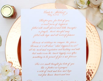 Custom Calligraphy - calligraphy Print - Vows - Wedding Gift - Christmas Gift - Anniversary Gift - Wedding - custom gift - hand lettered