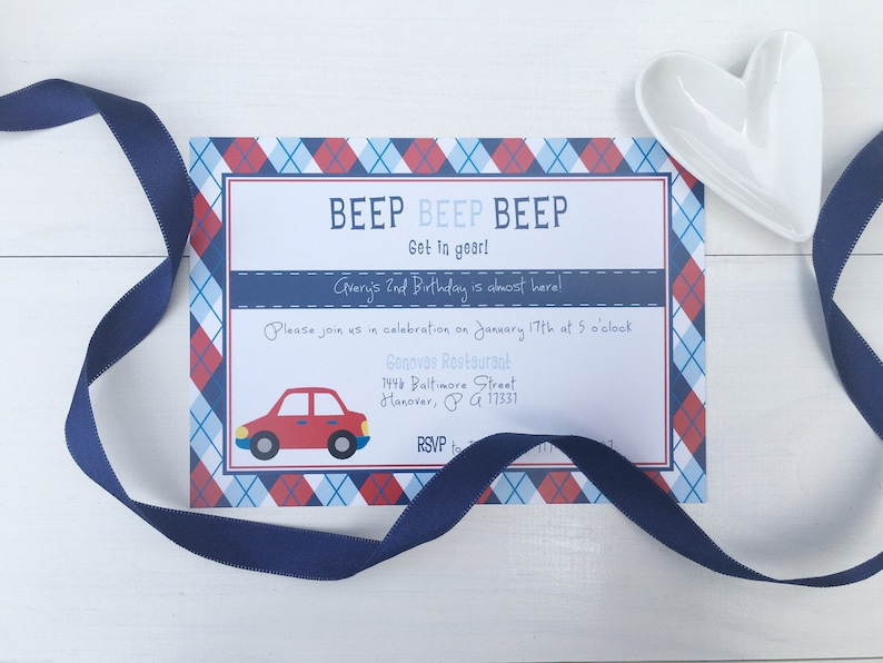 Car Birthday Theme Invitations Printable