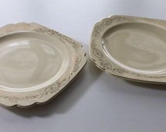 1940s Homer Laughlin China-Garland Century-Three Daisies Pattern-Yellow-Gold Trim-Salad Plate-Set of 3