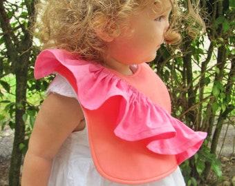 One shoulder ruffle baby bib