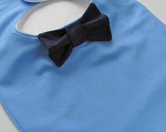 Cornflower bow tie bib
