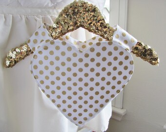 Sweetheart bib-gold polka dots