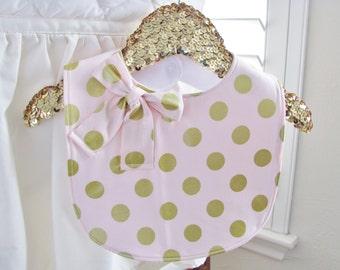 Layla bib-blush polka dots