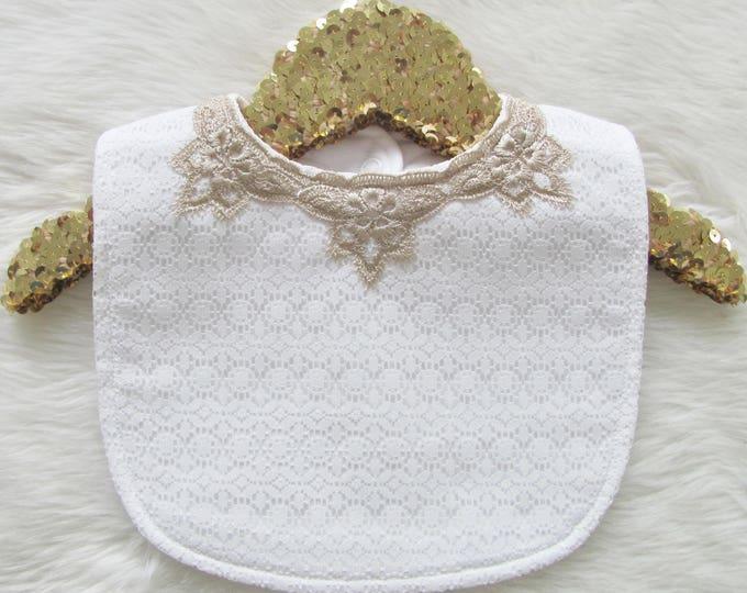 Featured listing image: Charlotte Bib - White lace - Baby bib
