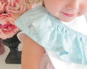 Lace one shoulder ruffle bib