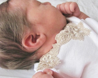 Gold lace baby onesie