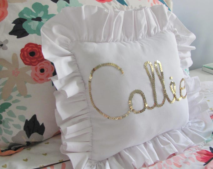 Featured listing image: Gold sequin custom name pillow