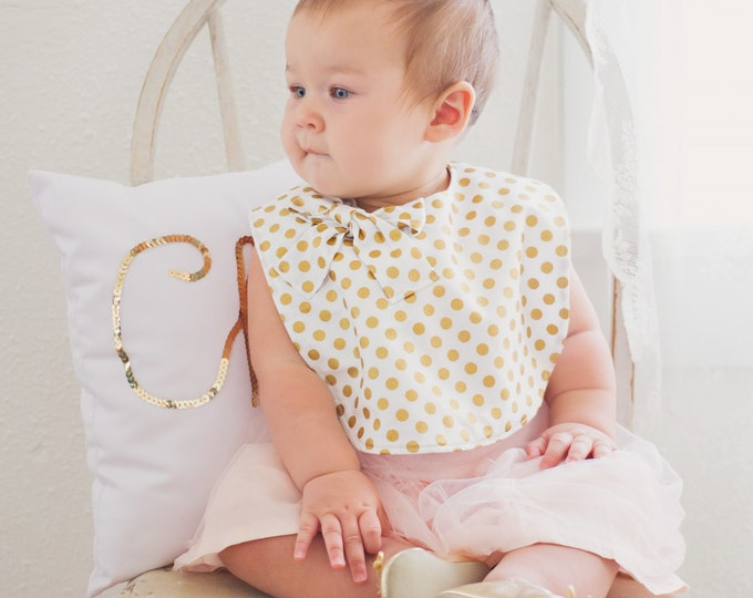 Featured listing image: Gold polka dot bib