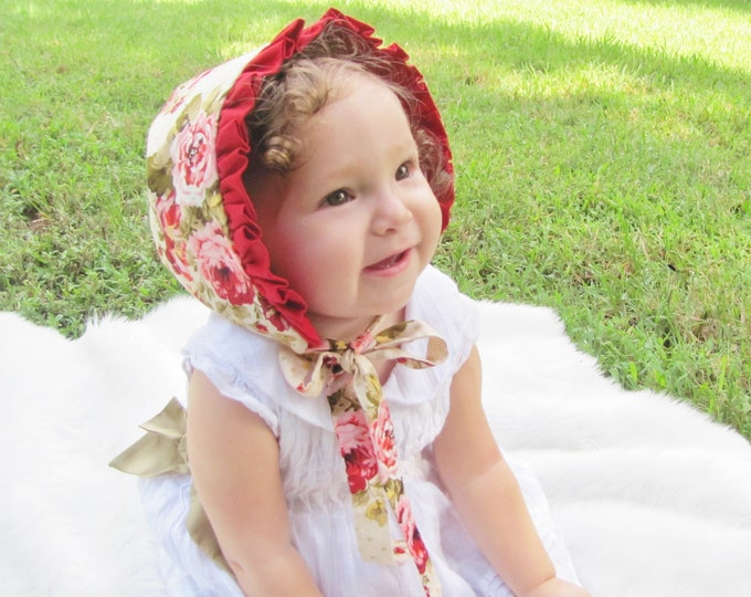 Featured listing image: Red Rose Ruffle Bonnet