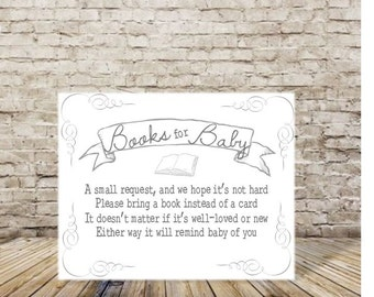 Baby Shower Book Request - Instant Download - Book For Baby Shower - Build Baby's Library - Print at Home - Instead of a Card Bring a Book