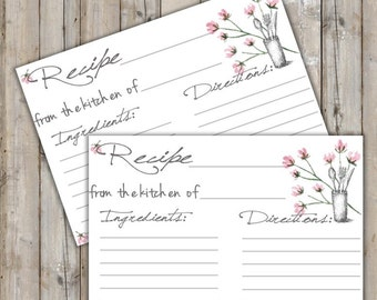 Printable Recipe Card - Digital File Floral Recipe Card - Instant Download Rustic Floral Recipe Card - Bridal Shower Game