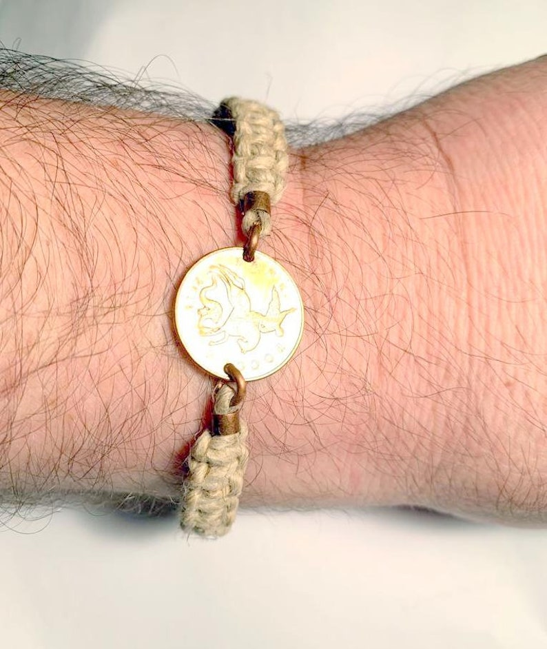 Hemp Coin Bracelet Gift for MenWomen Macrame Hemp Twine Coin Bracelet Jewelry